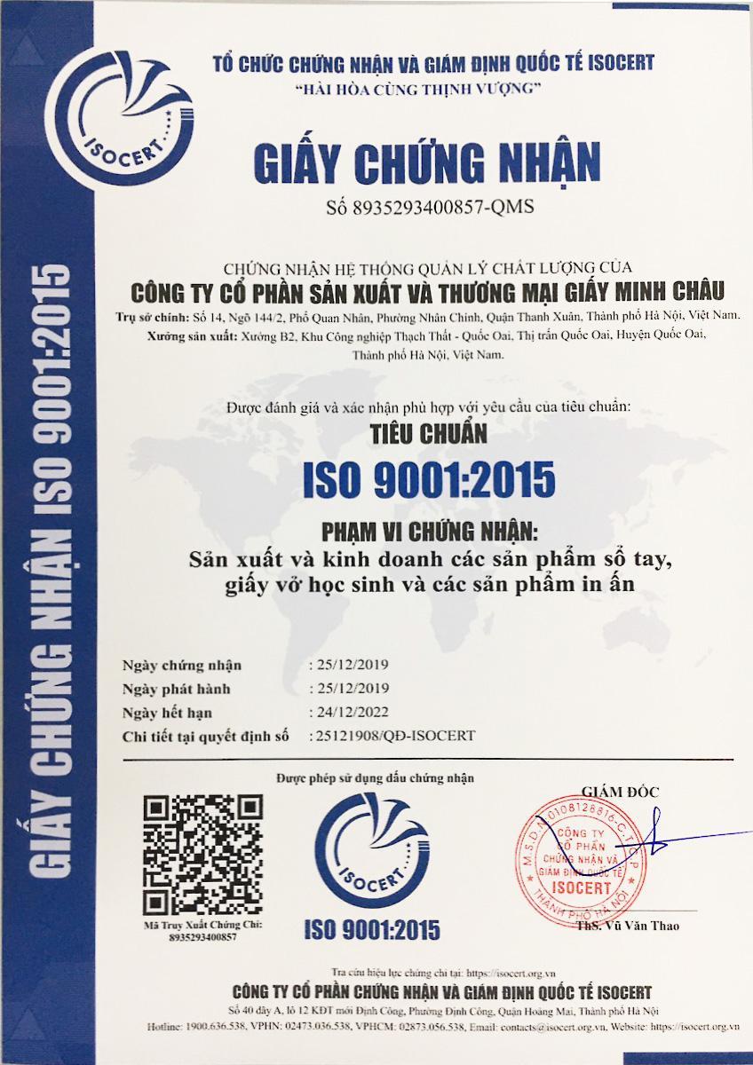 Giấy Minh Châu đã đạt tiêu chuẩn ISO 9001:2015