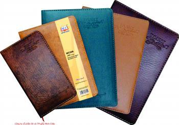 Sổ da cao cấp Minh Châu, vân đen nâu vàng Diary (316-325-348)