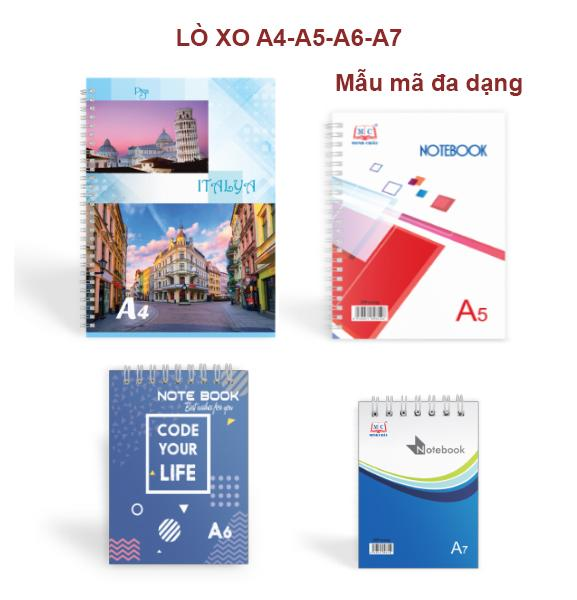 Sổ Lò Xo Minh Châu,đủ kích thước, màu sắc A7-A6-A5-A4