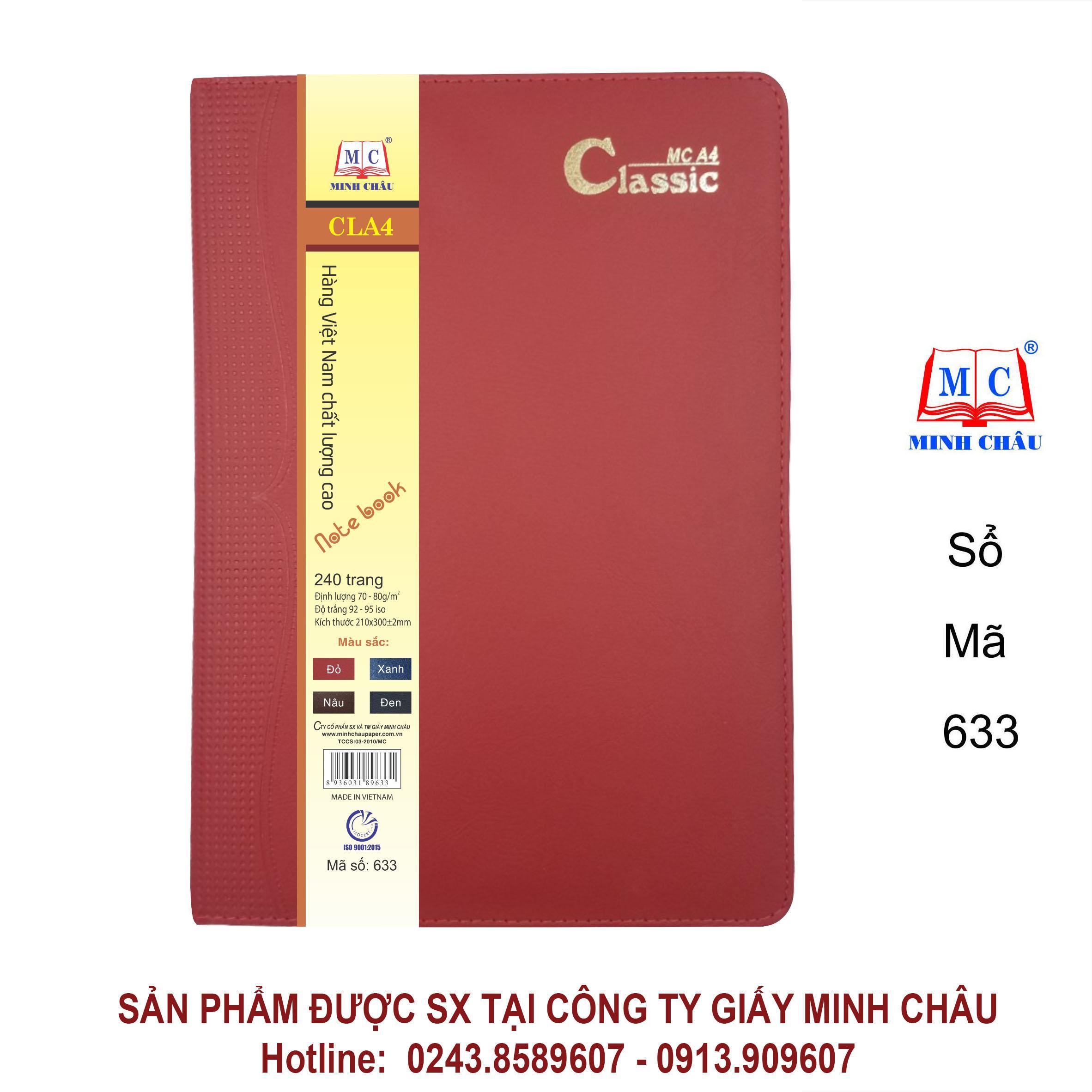 Sổ Classic A4, màu đỏ mận, đủ số trang