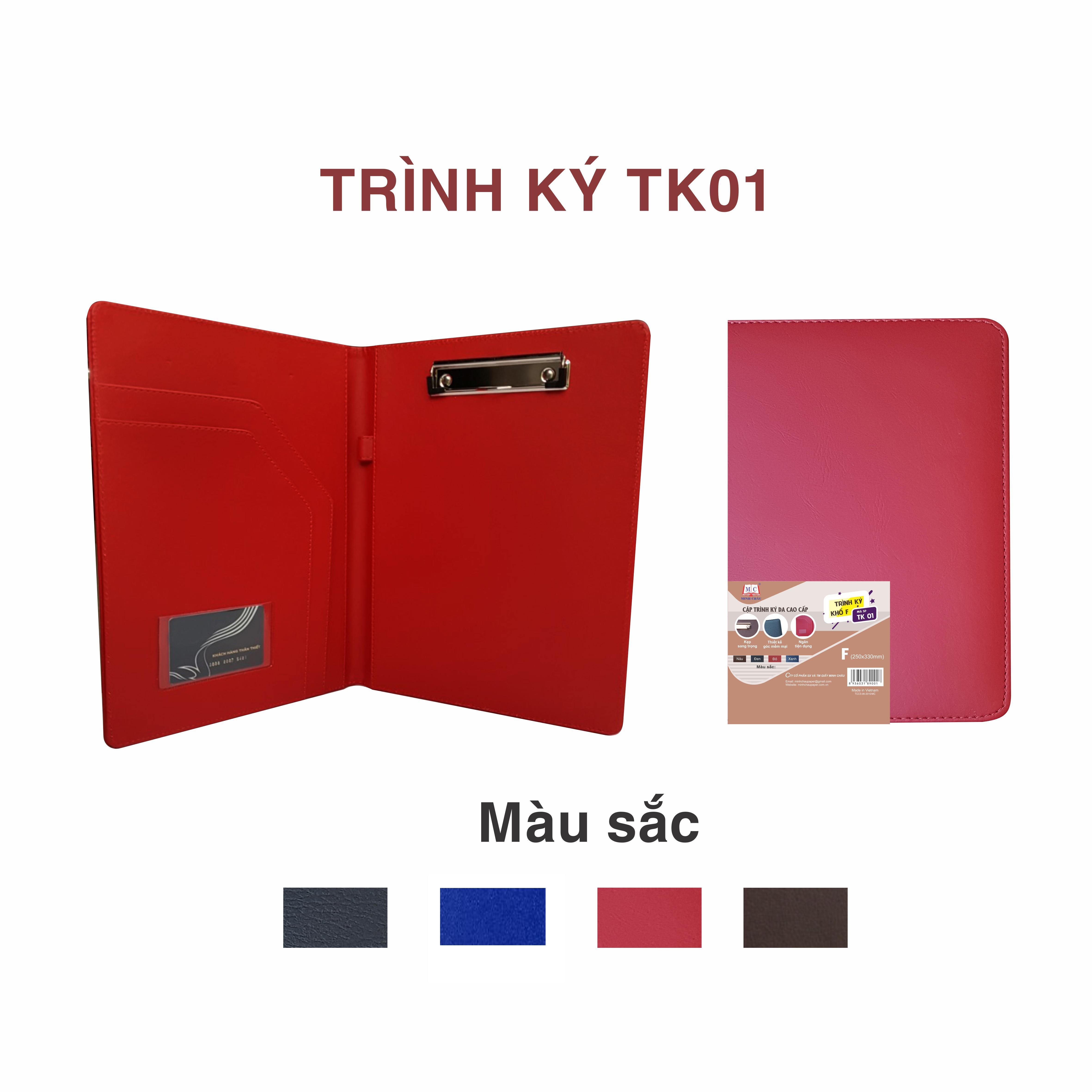Cặp trình ký Minh Châu da cao cấp (trình ký đôi- 4 màu)