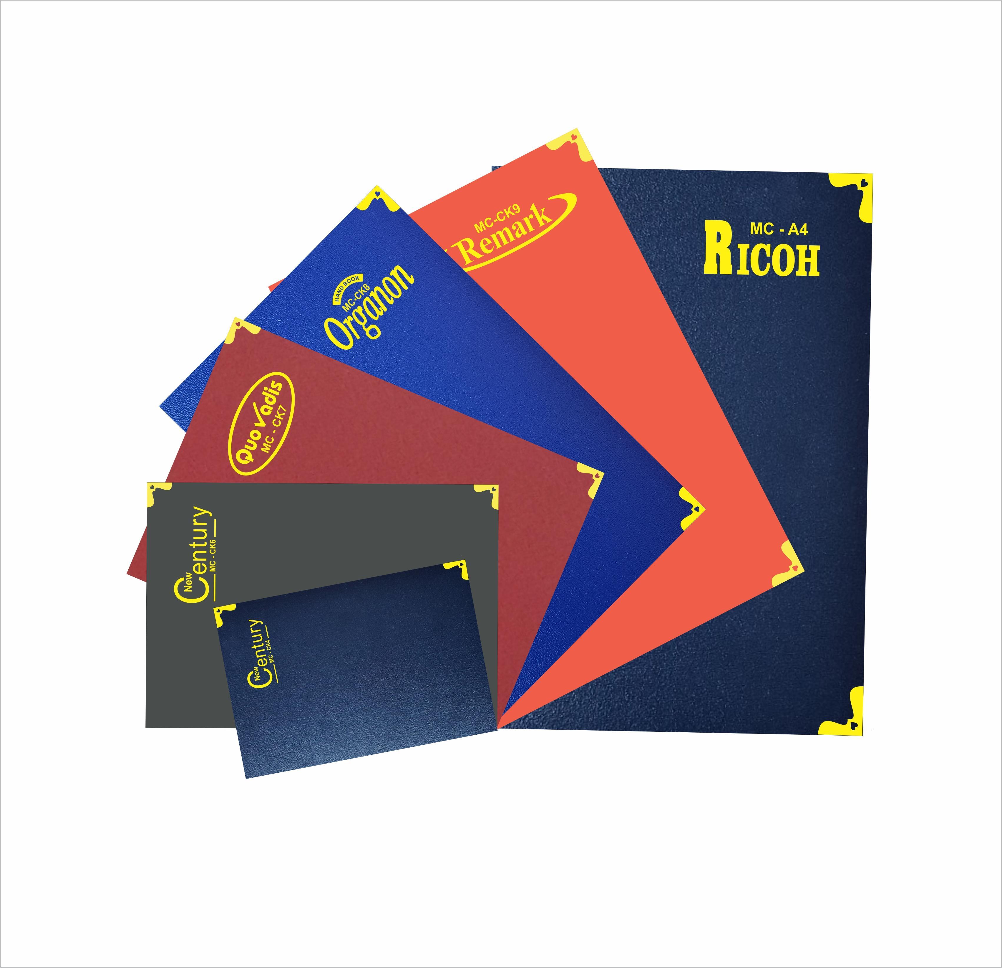 Sổ bìa da có nẹp góc đồng, màu sắc đa dạng CK4-6-7-8-9, A4.